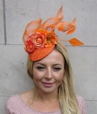 86a6dcb149dd8 Orange Rose Flower Feather Pillbox Hat Fascinator Races Wedding Floral Hair  6343