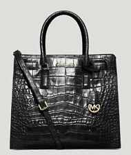 Michael Kors * Dillon Croc Embossed Leather Tote Bag Black w/Gold COD PayPal