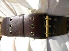 "2-1/2"" Wide Vintage Brass & Stud Brown Belt Women's 31-1/2"" to 37""L"