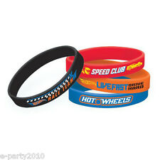 HOT WHEELS Wild Racer RUBBER BRACELETS (4) ~ Birthday Party Supplies Favors Blue