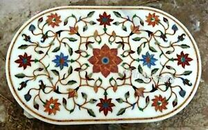 24 x 36 Inches Marble Coffee Table Top Inlay Floral Design Sofa Table for Home