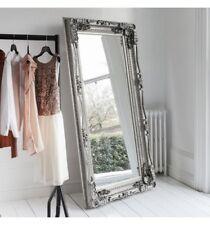Classic, baroque inspired full length mirror ornate design antique silver frame