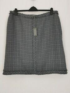 BNWT | Laura Ashley | Tweed Check A-Line Skirt | Sz 20 | Charcoal Grey Side Zip