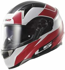 LS2 FF396 THUNDERBOLT FIBRE GLASS HELMET WITH SUN VISOR & AIR-PUMP, RED SIZE M
