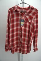 WOMEN'S RED/BLACK FLANNEL PLAID BUTTON-UP SHIRT S-UNIVERSAL THREAD NEW WITH TAGS