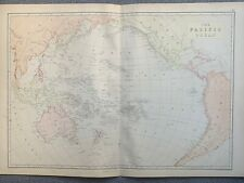 1882 THE PACIFIC OCEAN ORIGINAL ANTIQUE COLOUR MAP BY W.G. BLACKIE
