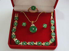 18k Yellow Gold GP Green Emerald Necklace Bracelet Earring Ring Jewelry Set