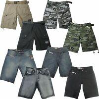 Ecko Unltd. Rhino Men's Belted Cargo Shorts Jean Denim Shorts