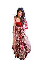 Indian Party Wear Red Lehenga Wedding Designer Work Heavy Bollywood Lengha Choli