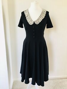 HELL BUNNY Small Black Juliana Midi Dress Victorian Modest Crochet Collar