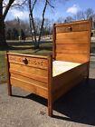 Antique Solid Oak Eastlake Victorian CHILD Bed Headboard Footboard Rails Mattres