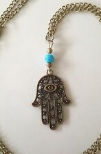 Necklace Long Bronze Hamsa Hand  Big Chunky Boho Hippie Bohemian N1003