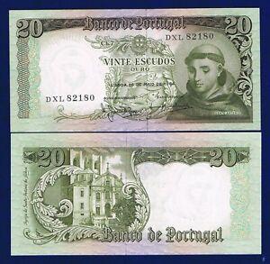 Portugal 20 ESCUDOS-1964  P167 UNC PREFIX DXL