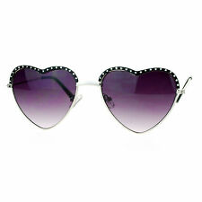 Womens Heart Shape Sunglasses Rhinestone Decor Top Love Metal Frame Silver Black