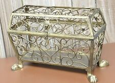 Gold Metal Ornate Decorative Wedding Card  Box Pedestal Feet Home Decor