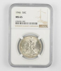 1946 MS65 Walking Liberty Half Dollar - Graded By NGC - Choice Unc *225