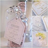 5 X Mini wine bottle labels tags PROSECCO wedding christening bottle labels tags