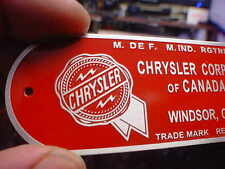 Chrysler CANADA Firewall data plate acid etched aluminum 1940s - 1950s