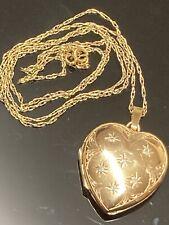 "Fabulous Vintage 9ct Gold Diamond Large Heart Locket Pendant &20"" Chain Necklace"
