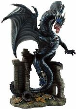 "9.25"" Dragon On Ruins Statue Figurine Figure Fantasy Myth Collectible Magic"