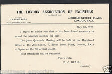 London Postcard - The London Association of Engineers, Broad Street Place RS1261