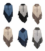 WOMEN LADIES WARM PONCHO WITH A HOOD JUMPER SWEATER JACKET CAPE WRAP SHAWL