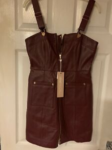 Brand New Alice McCall Burgundy Leather  Cherry On Baby Dress. Size 8. Rrp 450