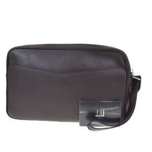 Authentic Dunhill Logo Men's Clutch Hand Bag Leather Brown Made In Italy 05MF205