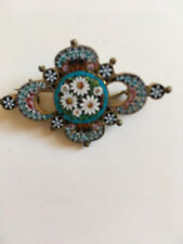 vintage blue white micro mosaic brooch