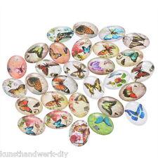 KUS 10 Mix Schmetterling Oval Glascabochons Klebeperlen Klebesteine 18x25mm