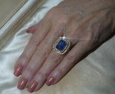 GIA 18K BLUE SAPPHIRE DIAMOND RING VINTAGE VS ENGAGEMENT SRI LANKA HUGE 8.47 CTS