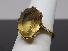 Vintage 7.3CT Natural Citrine 9K Gold cocktail Ring, Size 6, 4.1g