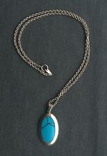 """STERLING SILVER VIVID BLUE TURQUIOSE OVAL PENDANT 18""""   SOLID 925"""