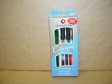 New Green Sheaffer Classic Calligraphy Fountain Pen Ink Cartridges Set & 3 Nibs