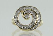 """Hallmarked 9ct Oro Giallo Diamante Set """"Swirl"""" Anello"""