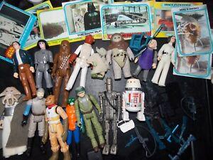 VTG~1977~12~KENNER~STAR~WARS~figure~weapons~yoda~ig88~ewok~droids~r5d4~stand~lot