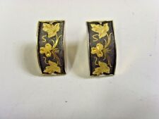 estate vintage japan clip on earrings gold ilay etched damascene niello 47792