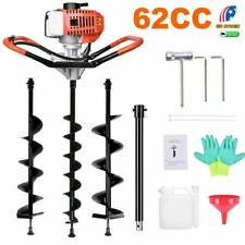 62cc Post Hole Digger Gas Powered Earth Auger Borer Machine 3 Auger Drill Bits