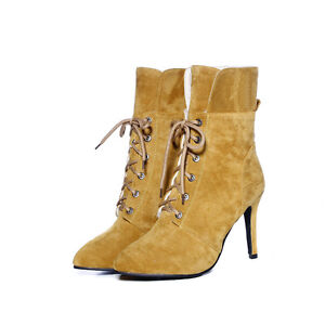 Womens Ankle Boots Stilettos High Heel Pointy Toe Lace Up Faux Suede Shoes Chic