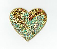 """Large Gold 2"""" Sequin Heart - Valentine - Iron on Applique - Embroidered Patch"""