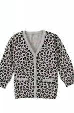 Gymboree TRES FABULOUS Vintage NWOT. Medium 7-8 Grey Leopard  cardigan sweater