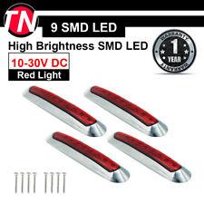 """4Pcs 9 LED SMD 6.7"""" Red Sealed Side Marker Indicator Light Trailer Truck Car ATV"""