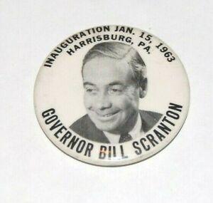 '63 BILL SCRANTON INAUGURATION GOVERNOR PENNSYLVANIA campaign pin pinback button