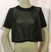 TopShop Black Perforated Crop Blouse Short Sleeves Sz US 4
