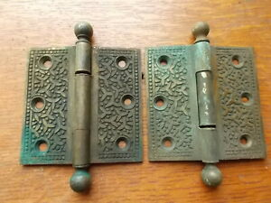 "Two Antique Fancy Victorian Bronze Door Hinges 3 1/2"" Yale Towne Rice Pattern"