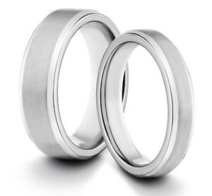 HIS & HERS 6MM/4MM Titanium Matte Silver Comfort Fit Wedding Band TWO RING SET