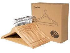 Topline Classic Wood Suit Hangers - 20 Pack (Natural Finish)