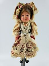 """Molls Trachten Puppen Celluloid Girl Doll German Traditional Costume w Tag 9"""""""