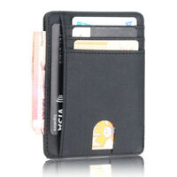 RFID Blocking Leather Slim Wallet Money Clip Credit Card Holder Coin Pocket ty