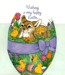 Happy Easter Springtime Easter Bunny & Yellow Chicks Greeting Cards - Set of 3